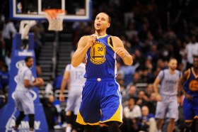 Nov 26, 2014; Orlando, FL, USA; Golden State Warriors guard Stephen Curry (30) celebrates a three-point basket against the Orlando Magic in the first half at Amway Center. Mandatory Credit: David Manning-USA TODAY Sports